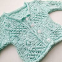 Babys First Aran Cardigan Baby Teal