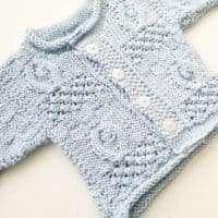Babys First Aran Cardigan Baby Blue