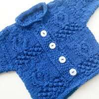 Babys First Aran Cardigan Royal