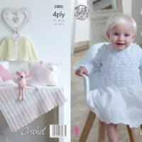 King Cole Baby Jacket, Vest, Singlet & Blanket Crochet 4ply #5003