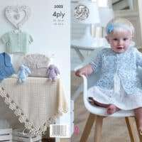 King Cole Baby Jacket, Vest, Singlet & Blanket Crochet 4ply #5002