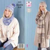King Cole Ladies Pattern Scarf, Hat, Mitts #5654
