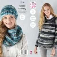 King Cole Quartz Super Chunky Sweater, Hat & Cowl Pattern #5639