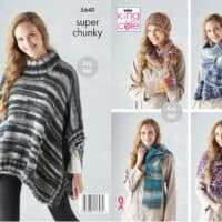 King Cole Quartz Super Chunky Poncho, Hats and Scarves Pattern #5640