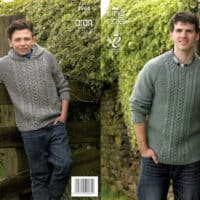 King Cole Fashion Aran Cabled Sweater and Hoodie Pattern #3964