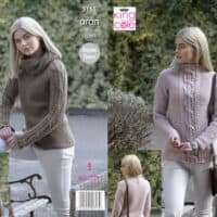 King Cole Aran Ladies Cabled Jumpers & Cowl Pattern #5155