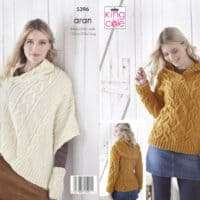 King Cole Aran Ladies Celtic Cabled Hoodie and Poncho Pattern #5396