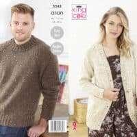 King Cole Aran Unisex Long Cardigan & Sweater Pattern #5543