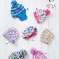 King Cole Cherish Hats Pattern 6 months-4 years