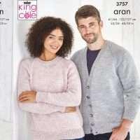 King Cole Aran Family V-Neck Cardigan & Raglan Sweater Pattern 3757